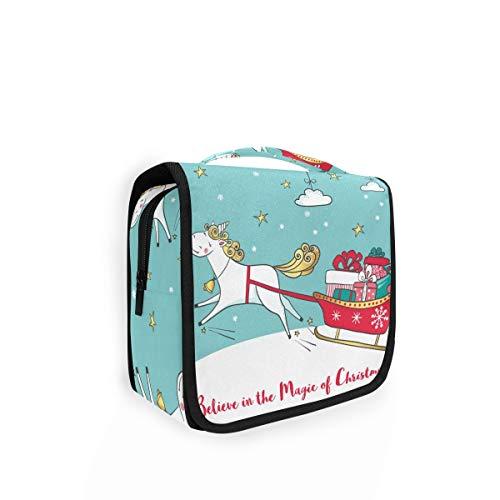 XIXIKO Kulturbeutel zum Aufhängen, Motiv: Tier, Einhorn, Weihnachtsbaum, Reisetasche, Organizer, faltbar, Kosmetiktasche, Make-up-Tasche für Frauen und Mädchen