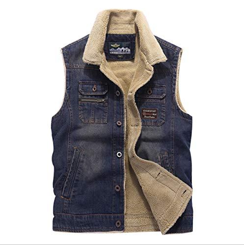 GL SUIT Heren Gewatteerde Gilet Herfst Winter Body Warmer Denim Vest Warm Fleece Taillejas Mouwloos Jas voor Outdoor sport