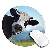 牛 マウスパッド 丸型 20cm 滑り止め 防水 おしゃれ 洗える ビジネス用 家庭用 ゲーム用