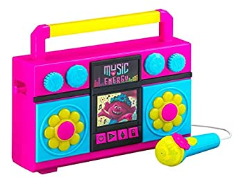 ekids Trolls World Tour Sing Along Boom Box Speaker with Microphone for Fans of Trolls Toys for Girls Kids Karaoke Machine with Built in Music and Flashing Lights