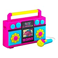 ekids Trolls World Tour Sing Along Boom Box Speaker with Microphone for Fans of Trolls Toys for Girls, Kids Karaoke Machine with Built in Music and Flashing Lights