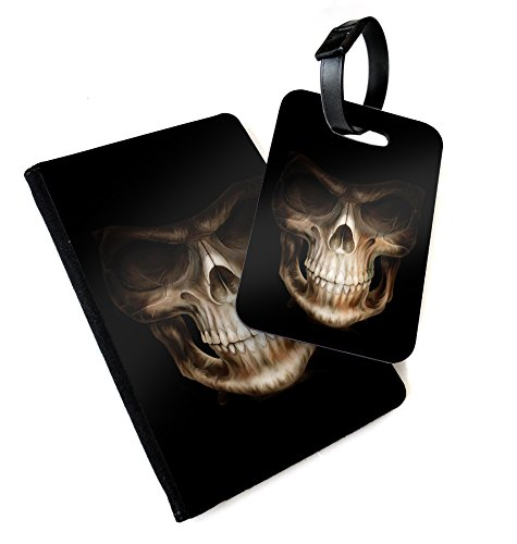 WTF | Grinning Reaper Skull | Printed Art Faux Leather Passport Cover/Luggage Tag (Holder/Luggage Tag Combo)