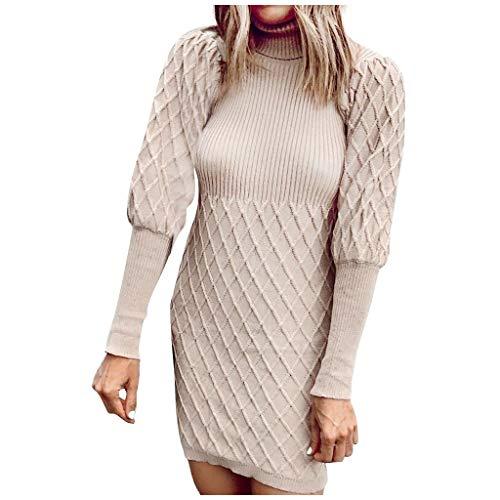 PKTOP Fashion Damen Winter-Kleid mit Rollkragen, gestrickt, lange Laternenärmel Gr. L, khaki