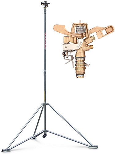 "IrrigationKing RK-1A8 6' Raintower Sprinkler Tripod Stand, 3/4"" Brass Sprinkler, Needs High Pressure"