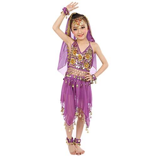 Conjunto de trajes para niñas de 0 a 8 años, hecho a mano para niños, niñas, danza del vientre, tela de danza de Egipto, bonito regalo de Pascua, juego de ropa de bebé para 4 a 8 años (morado)