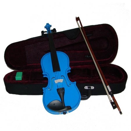 Merano MV300DBL 3/4 Size Blue Violin with Case and Bow+Extra Set of Strings, Extra Bridge, Rosin, Pitch Pipe, Shoulder Rest