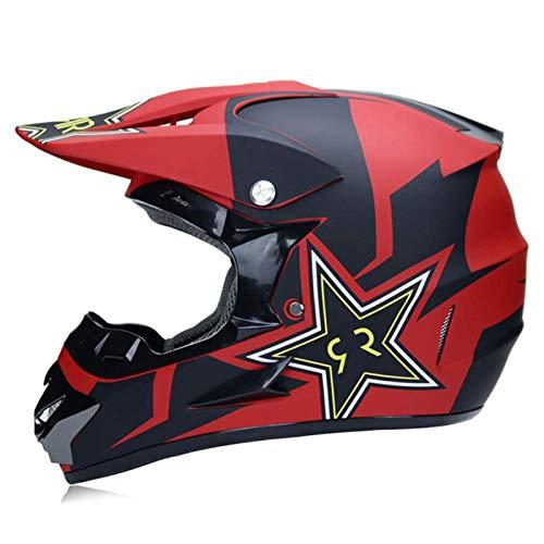 qwert Casco de Motocross para Motocicleta, Aprobado Dot, Conjunto de Casco de MTB de Cara Completa con Gafas/Guantes, Casco de Choque para Motocicleta Dirt Bike ATV (S/M/L/XL)