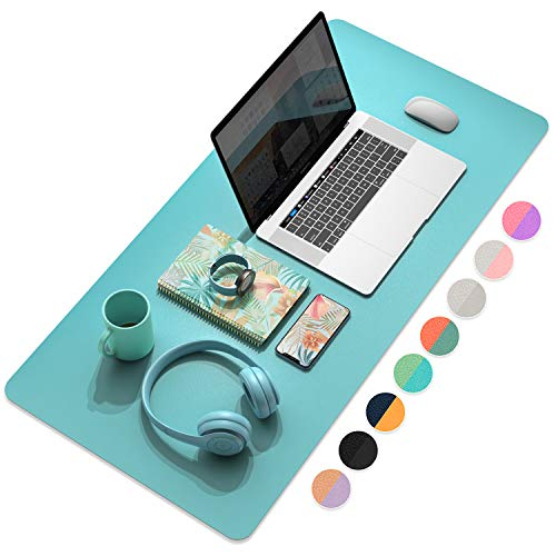 """YSAGi Multifunctional Office Desk Pad, Ultra Thin Waterproof PU Leather Mouse Pad, Dual Use Desk Writing Mat for Office/Home (35.4"""" x 17"""", Calamine Blue+Cobalt Green)"""