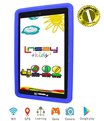 LINSAY Kids Tablet PC Newest Android 9.0 WiFi Kid-Proof Quad Core 2GB Ram 16GB of Internal Storage up to 256 GB External SD Card. Learning Device, Millions of Apps- Dual Camera Google Certified