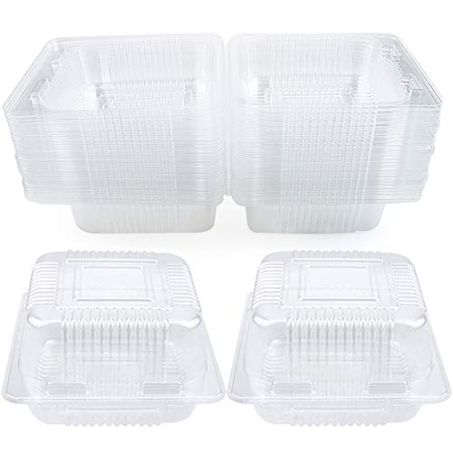 WYKOO 50 Pack Disposable Clear Plastic Clamshell Food Containers for Salads, hamburgers, bread and Sandwiches, Portable Food Take-Out Plastic Container, 5.3 x 4.7 x 2.8 Inch
