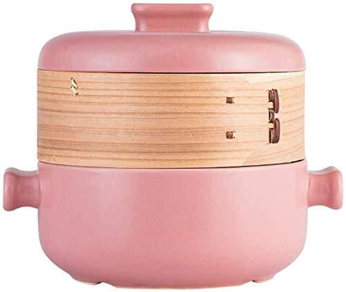 Cuiseur à vapeur domestique Casserole à ragoût, casserole à soupe, cocotte en fonte avec couvercle pour four Pyrex cocotte (rose/2,5 L)