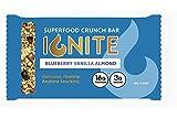Ignite Superfood Protein Crunch Bars – Blueberry Vanilla Almond Flavor Healthy Snack Bar – 16g Protein – Gluten, Soy & Grain Free – Prebiotic Digestive Support – Keto Friendly