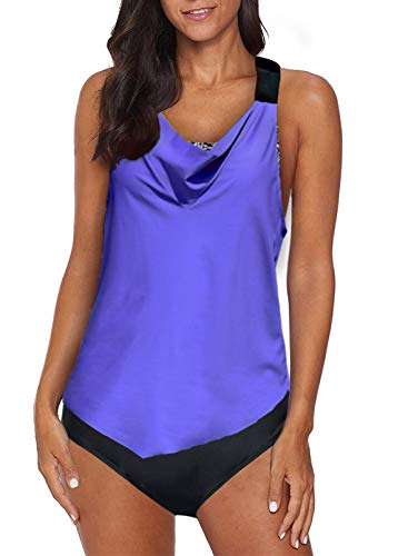 Aleumdr Womens Blouson Striped Printed Two Piece Tankini Strappy T Back Push up Tankini Top with Bottom blue Large