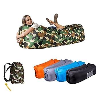 ?Bag Chill? Air Sofa Matelas Hamac Gonflable LayChill Camouflage, Transat pour Camping, Randonnée, Voyage, Piscine et Plage + Piquet |?Cadeau? Lunettes de Soleil Bracelet Pliable (Camouflage)