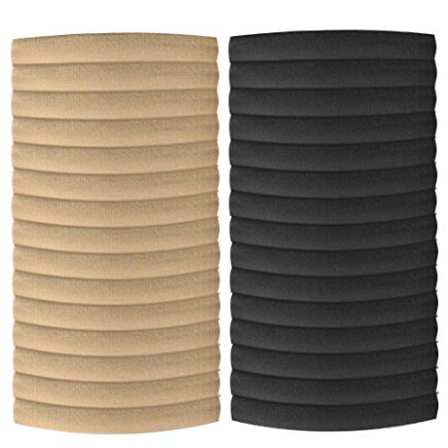 30 Pieces Nylon Headband Elastic Hair Bands for Baby Girl, Newborn, Toddler and Kids DIY Hair Accessories (Black +Nude)