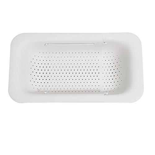 Miaoxin - Colino per lavello con colino, cestello per lavare verdure, frutta, scolare, piatti secchi, allungabile, per la casa e la cucina bianco