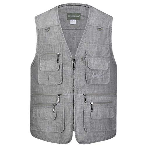 Herren Outdoor Weste mit vielen Taschen Atmungsaktiv Fishing Weste Ärmellos Jacke 5XL Grau