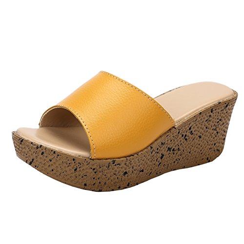 [fereshte] レディース ガールズ 厚底 ファッションサンダル 7cmウェッジヒール スリッパ Yellow EU36