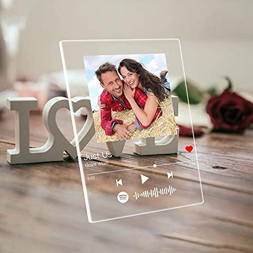 DGLpintu Arte de Vidrio de Spotify Personalizado Música Placa,Placa de Foto de Código de Spotify Escaneable Personalizada,Regalos para Novio, Novia, Tu Madre.