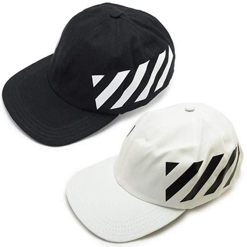 [オフホワイト]キャップ メンズ OFF WHITE 帽子 コットン DIAG BASEBALL CAP OMLB008R19400032 (WHITE/BLACK) [並行輸入品]