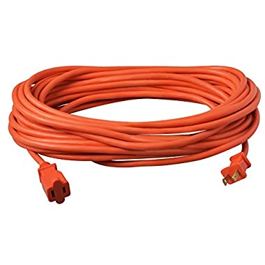 Coleman Cable 02208 16/2 Vinyl Outdoor Extension Cord, Orange, 50-Feet