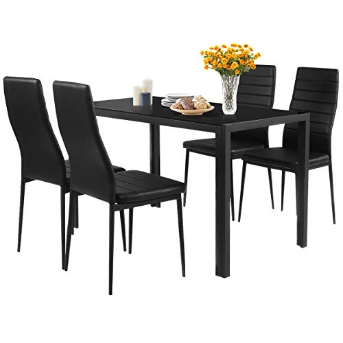 Giantex 5 Piece Kitchen Dining Table Set With Glass Table Top Leather Padded 4 Chairs And Metal Frame Table For Buy Online In Gambia At Gambia Desertcart Com Productid 31751733