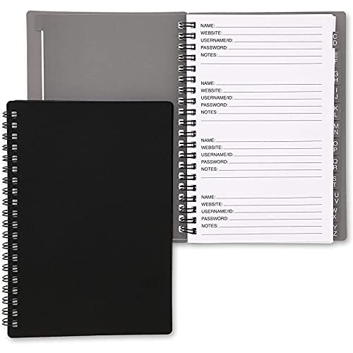 Password Book with Alphabetical Tabs, Spiral Bound Internet Address Keeper Logbook (2 Pack, 6x7 in)