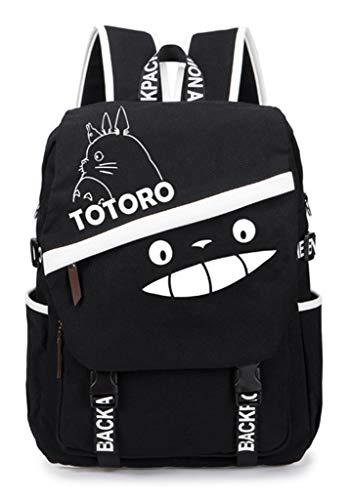 Cosstars My Neighbor Totoro Anime Studenten Laptoprucksack Backpack Schulrucksack Büchertasche Tagesrucksack Schwarz