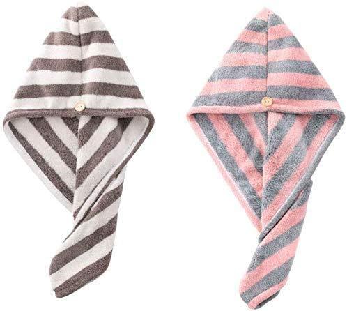 sleeping bag 2er Pack Schnelltrocknendes Handtuch für Haare, Hut für trockenes Haar, Mikrofaser-Haartuch, Haarwickel-Superabsorber, eingewickelte Badetücher für die Dusche