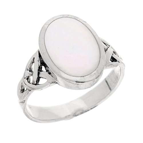Sterling Silver Mother of Pearl Inlay Celtic Knot Ring Size 9(Sizes 5,6,7,8,9,10)
