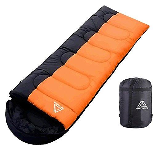 寝袋 封筒型 軽量 sleepingbag アウトドア 登山 車中泊 丸洗い 夏用 冬用 収納袋付き B (B/Orange 1.0kg Left)