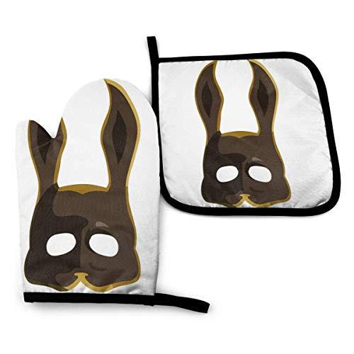 Cooking Gloves And Potholders,Brown Splicer Bunny Mask Bioshock Set Aus Ofenhandschuhen, Attraktiven Topflappen Und Ofenhandschuhen Für Muttertagsgeschenke