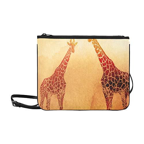 WYYWCY Aquarell Giraffen auf dem alten Papierkarton Muster benutzerdefinierte hochwertige Nylon dünne Clutch-Tasche Umhängetasche Umhängetasche
