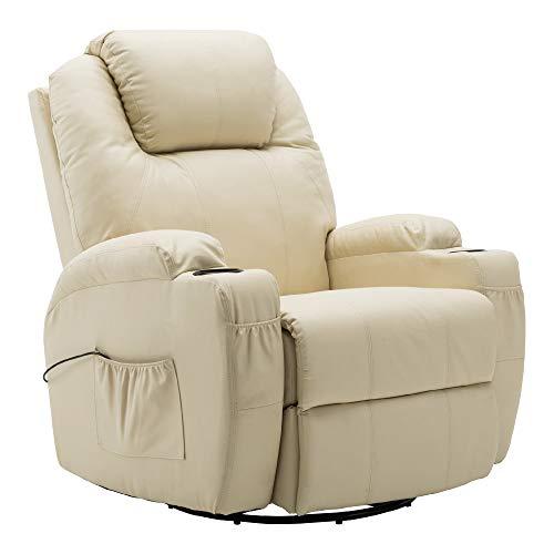 MCombo Massagesessel Fernsehsessel Relaxsessel mit Dreh und Schaukel mit Heizung, 7020 Cremeweiß