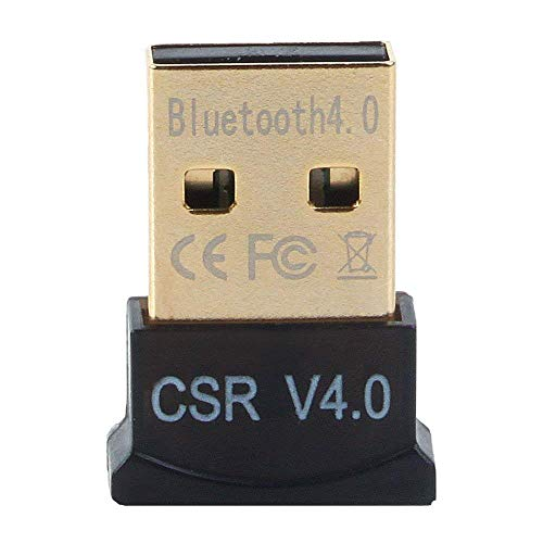 Bloat USB Bluetooth Adapter, CSR 4.0 USB Bluetooth Dongle Receiver with All in One Driver CD, Gold Plated, for Laptop PC Computer Supports Windows 10 8 7 Vista XP