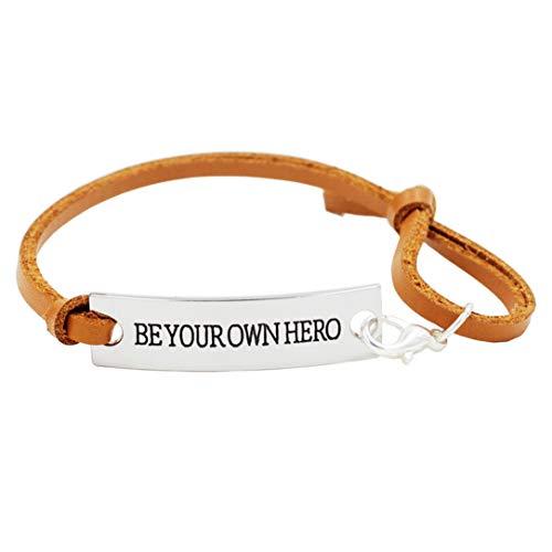 ZSDFW Pulsera de piel unisex con motivación, pulsera de regalo para mujeres y hombres, color marrón claro