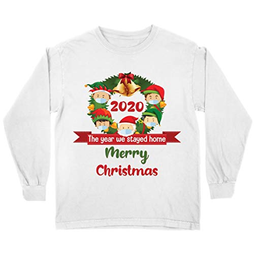 """lepni.me Camiseta para niños con texto en inglés """"Merry Christmas in Quarantine"""" 2021 Stay at Home Together for Christmas Holidays"""