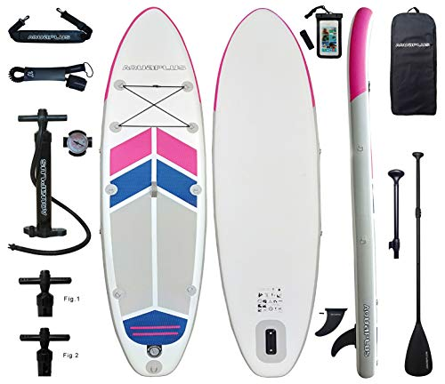 Aqua Plus 10ftx32inx6in Inflatable SUP for All Skill Levels with Stand Up Paddle Board, Adjustable Paddle,Double Action Pump,ISUP Travel Backpack, Leash,Surf Control,Youth & Adult Standing Boat