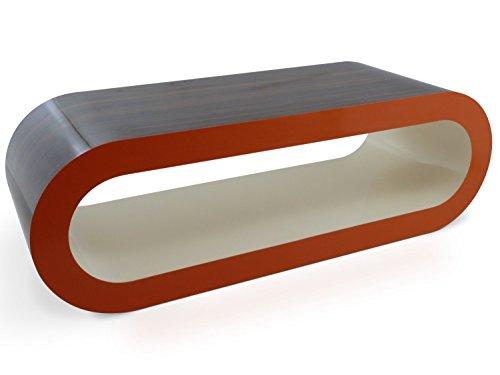 Zespoke Design Stripey Grande Rétro Haute Brillance Noyer Haute Brillance Côtés Oranges Haute Brillance Intérieur Crème 110cm Cerceau Café Pied de Table/TV