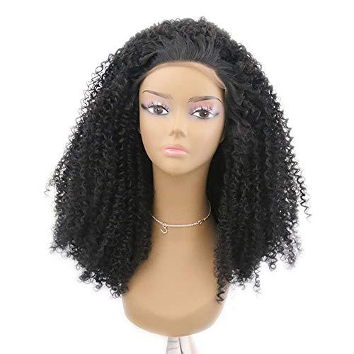 Wudimaoyiyouxian Noir Petit rouleau avant de dentelle perruque Femme Explosion tête perruque soie à haute température perruque gratuit cheveux Cap (Color : Black, Size : 14 inch)