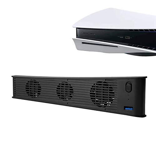 Thlevel Ventilador de Refrigeración para PS5, Ventilador de Refrigeración Externo USB para Playstation 5 Digital Edition e Ultra HD, Ventilador de Disipación para PS5 con Puerto USB