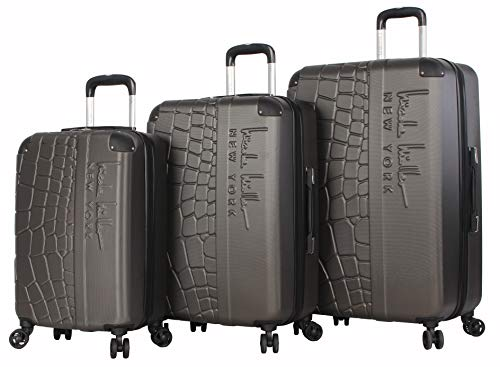 Nicole Miller New York Wild Side Collection 3 Piece Hardside Luggage Set Spinner (One Size, Charcoal)