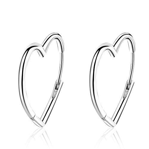 Ohrringe für Damen Creolen, Herzform, Sterling-Silber 925, große Kreise