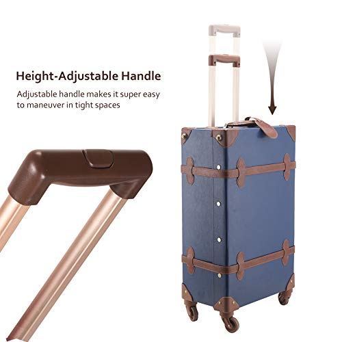CO-Z Premium Vintage Luggage Sets 24' Trolley Suitcase and 12' Hand Bag Set with TSA Locks (Pink + Beige) (12' +24' Rose)