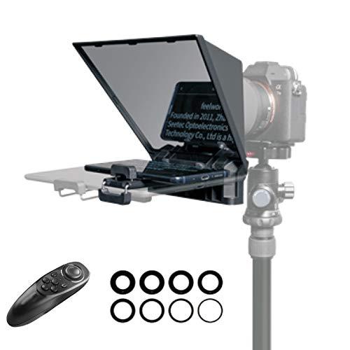 Feelworld TP2 Teleprompter de Cámara DSLR Soporta Lentes de Gran Ángulo Teleprompter Entrevista Compatible con 8' Tableta y Móvil con Control Remoto y 8 Tamaños de Anillos Adaptadores