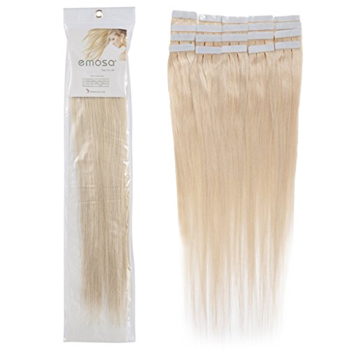18 inch Emosa Remy Stright PU Tape Skin Seamless Human Hair Extensions #60 Light Blonde 100g