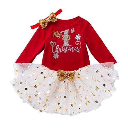 Fossen Kids - Pijamas Casero de Recién Nacido Bebé Navidad, My First Chirstmas Mono + Tutú a Cuadros + Diadema 3 PC