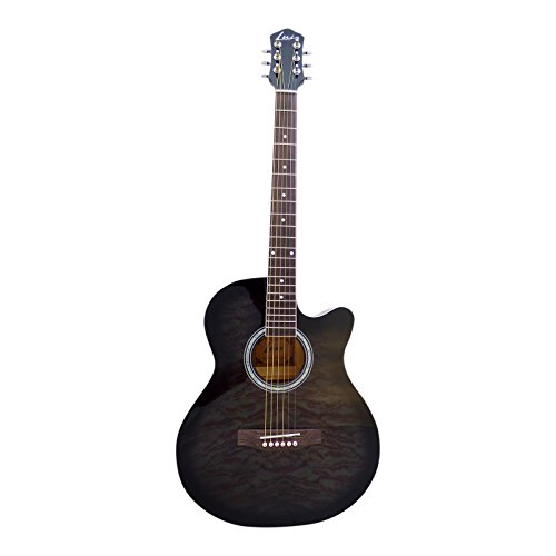 Luis Guitars by Acandoo Westerngitarre 4/4 Acoustic Guitar 40'' Jumbo mit Cutaway Black shadow schwarz geflammt