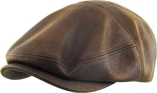 KBL-100 LBR S/M Faux Leather Ascot Ivy Newsboy Hat Driving Golf Cap Gatsby Cabbie