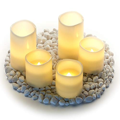 """Hayley Cherie - Real Wax Flameless Candles with Timer (Set of 5) - LED Candles 5"""" and 3"""" Tall - Flickering Amber Flame - Battery Operated Pillar Candles – Large Unscented (Ivory)"""